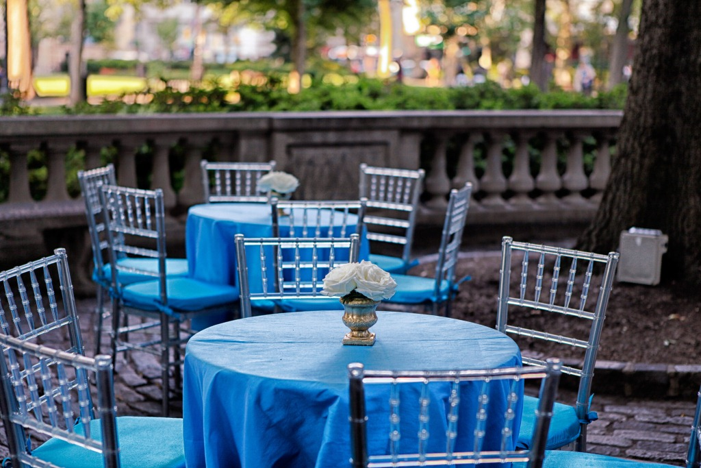 Sky Blue Taffeta Linens Cocktail Tables Gold Urns White Roses Summer Party Decor