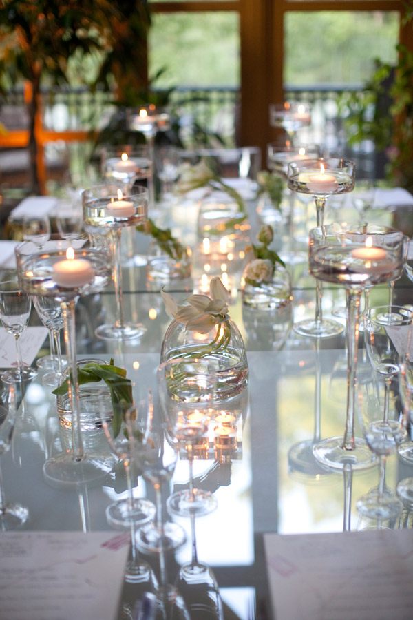 Glass Dinner Tables Floating Candles White Orchids