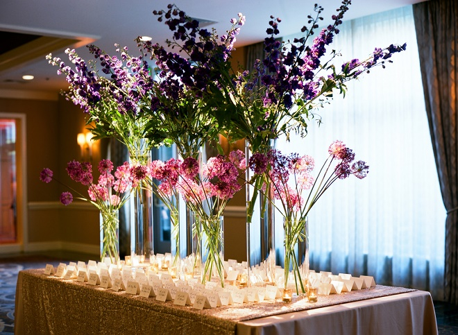 purple and blue floral centerpieces place card tables evantine design philly florists liz banfield