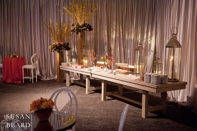 Food stations were placed around the cocktail reception. Evantine Design.
