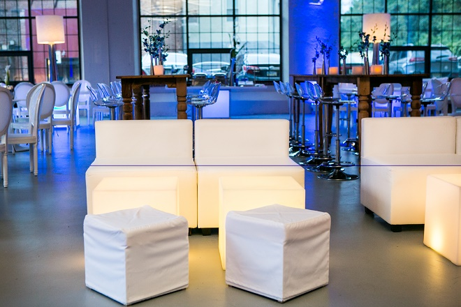 modern white lounge mitzvah with raw wood blue lighting evantine designn moulin loft space philadelphia 8
